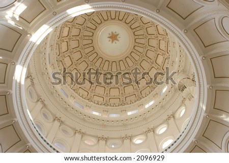 Dome interior of the Texas State Capitol in Austin - stock photo
