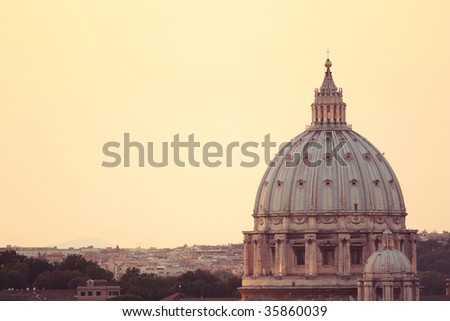 Dome of a cathedral of St. Peter - stock photo