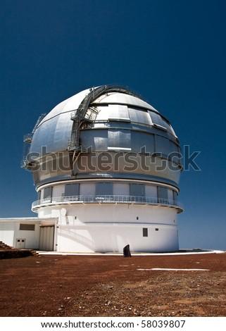 Dome of astronomy observatory GTC on Roque de los Muchachos, La Palma - stock photo