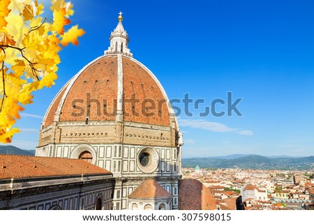 Dome of cathedral church Santa Maria del Fiore at fall day, Florence, Italy - stock photo