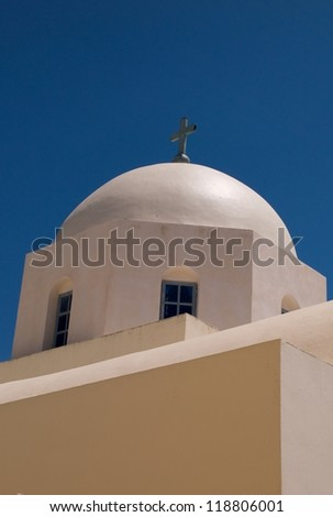 Dome of church in Santorini, Greece