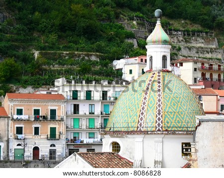 dome of church of holy Peter in the village Cetara on the coast of Amalfi - stock photo