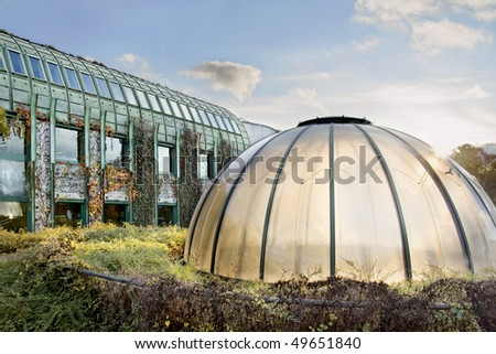 Dome of light. Ecological modern building . Warsaw University. Poland. - stock photo