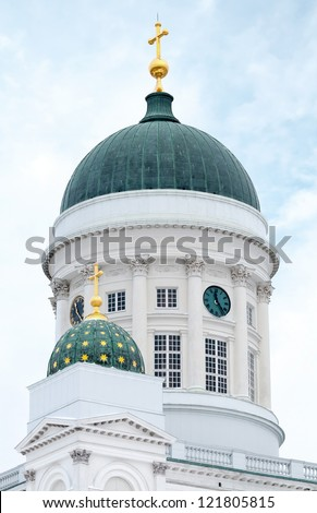 Dome of main Helsinki city cathedral - stock photo