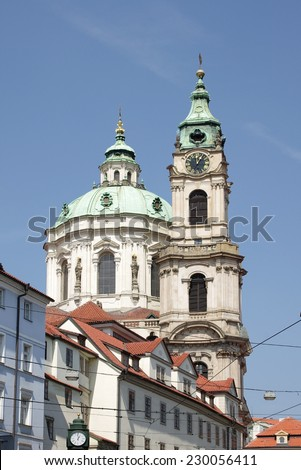 Dome of Saint Nicolas church, Prague, Czech Republic - stock photo