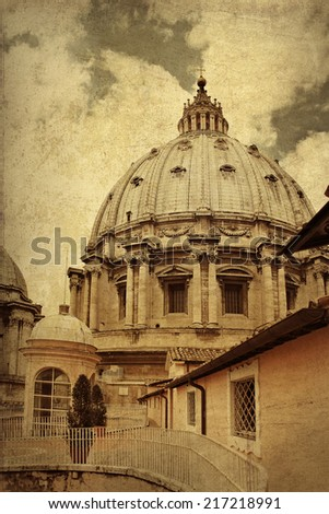 Dome of Saint Peter's Basilica on background clouds, Vatican City, Italy  - stock photo