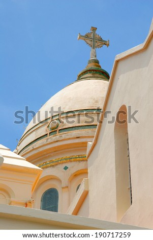 Dome of St. Louis Cathedral, Fort de France, in the French Caribbean island of Martinique.  - stock photo