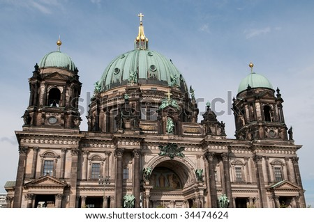 Dome of the Berlin Cathedral (Berliner Dom) in Berlin, Germany - stock photo