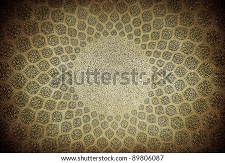 Dome of the mosque, oriental ornaments from Isfahan, Iran - stock photo