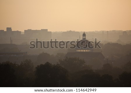 Dome of the old church in Cleveland, Ohio. Seen early morning. - stock photo
