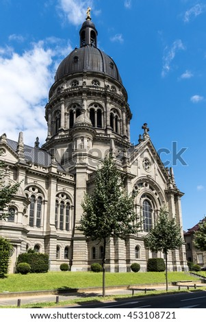 Dome of The Old Historic Christuskirche Church in Mainz,Germany - stock photo