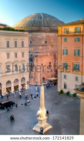 Dome of the Pantheon in Rome from Piazza della Minerva - stock photo