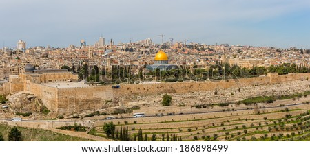 Dome of the Rock in beautiful panorama of Jerusalem from Mount of Olives.