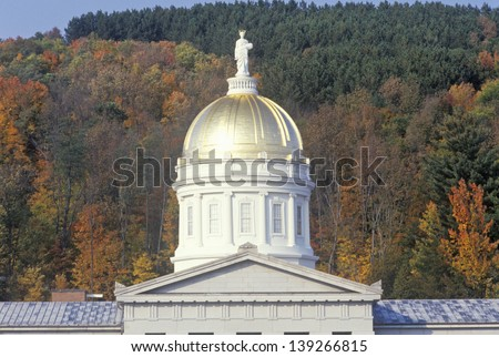 Dome of the State Capitol of Vermont in Montpelier, VT - stock photo