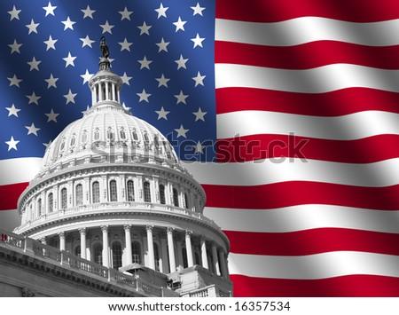 dome of US Capitol building Washington DC with rippled American flag - stock photo