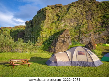 Dome tent at campsite in Iceland in a morning light - stock photo