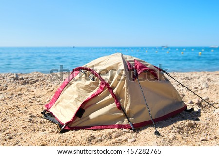 Dome tent at the beach - stock photo