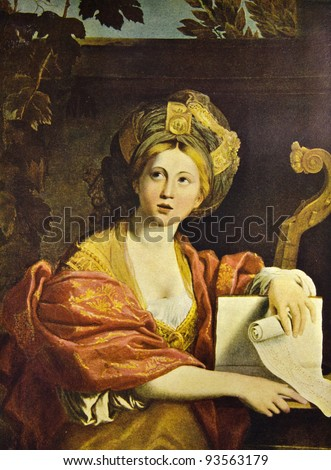"Domenichino (Domenico Zampieri) ""Sibyl"". Reproduction from illustrated Encyclopedia «Art galleries of Europe», Partnership «M. O. Wolf», St. Petersburg - Moscow, Russia , 1901"