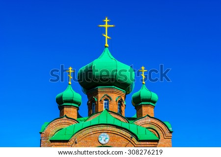 Domes of the Alexander Nevsky Cathedral church Barnaul, Russia - stock photo