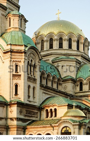 Domes of the Alexander Nevsky orthodox christian cathedral in Sofia, Bulgaria - stock photo