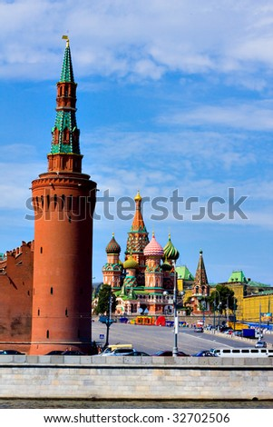 Domes of the famous Head of St. Basil's Cathedral on Red square, Moscow, Russia