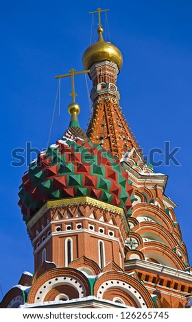 Domes of the Saint Basil cathedral on the Red Square in Moscow - stock photo
