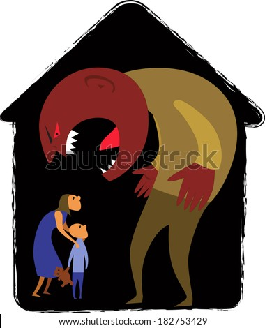 Domestic abuse. Male monster yelling at woman and child representing domestic abuse, abstract house background - stock photo