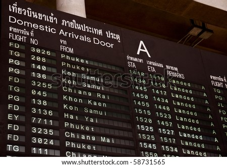 Domestic Airport Departure Board, Thailand