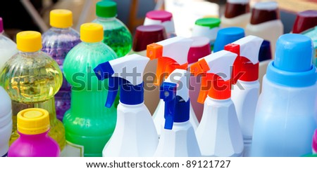 domestic chemical products for cleaning house chores - stock photo