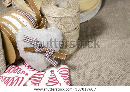 Domestic handmade Christmas decorations - heart and strings - stock photo