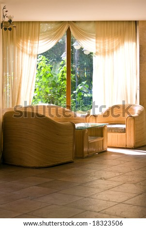Domestic interior with wum furniture - stock photo