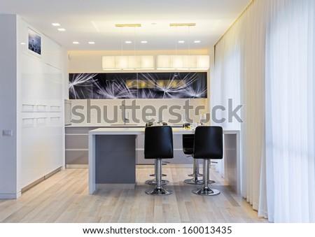 Domestic Kitchen Design - Luxury Kitchen  - stock photo