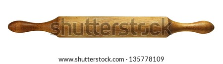 Domestic kitchen rolling pin made of wood isolated on white - stock photo