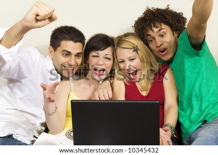 domestic life: group of friends having fun - stock photo