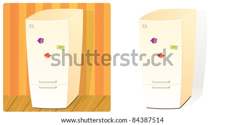 Domestic Refrigerator with Two Doors and Three Magnets. Stuff Collection (Raster version). - stock photo