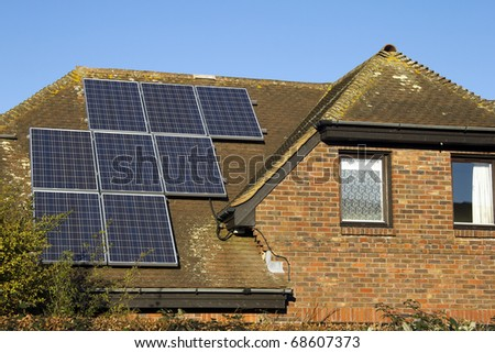 Domestic solar panels - stock photo