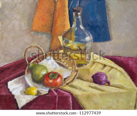 domestic still life oil painting - stock photo