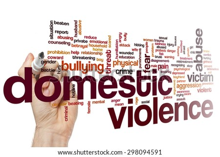 Domestic violence concept word cloud background - stock photo