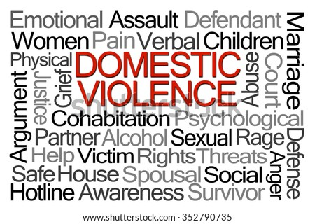 Domestic Violence Word Cloud on White Background - stock photo