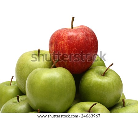 domination concepts - red apple on pyramid of green apples - stock photo