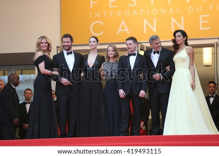 "Dominic West, Caitriona Balfe, Jodie Foster, Jack O'Connell,Julia Roberts, George Clooney at the Money Monster Premiere for ""Money Monster"" at the 69th Festival de Cannes.May 12, 2016  Cannes, France  - stock photo"