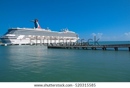 Dominican Republic, Amber Cove - MAY 21, 2016: Cruise ship Carnival Glory by the shore.