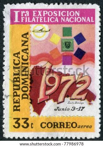 DOMINICAN REPUBLIC - CIRCA 1972: A stamp printed in the Dominican Republic, dedicated First National Philatelic Exhibition, Santo Domingo, circa 1972 - stock photo