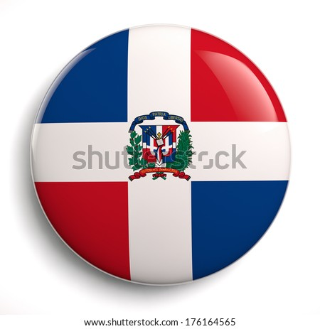 Dominican Republic flag icon. Clipping path included.