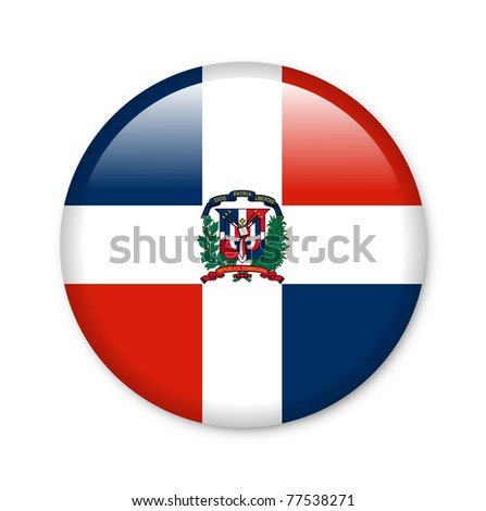Dominican Republic - glossy button with flag