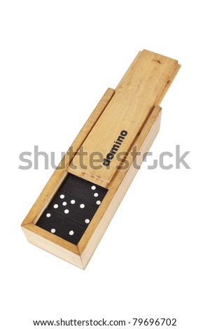 domino box, A wooden box of domino with domino game inside. - stock photo