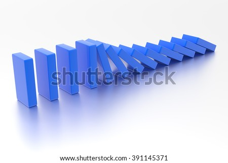 Domino. Conceptual illustration of falling bricks which push each other