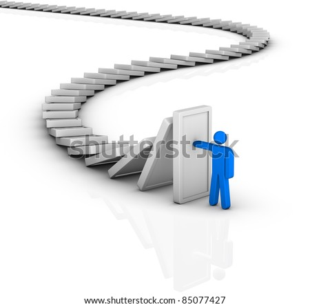 domino effect and problem solving - stock photo