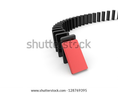 Domino effect concept one is red on white background - stock photo