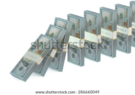 domino effect from dollars isolated on white background - stock photo